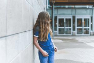student outside school